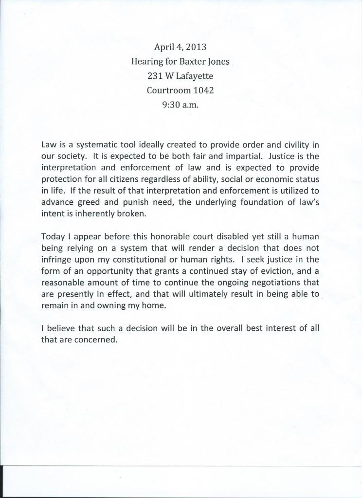 Baxter Jones' statement to the court 04-04-2013
